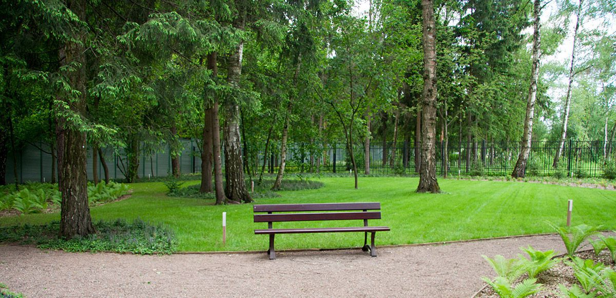Лавочка в зоне отдыха поселка Малое Сареево